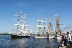 Sailingships on river Warnow Rostock stock image