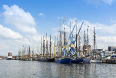 Sailingships in Rostock during Hanse Sail 2014 Stock Photos