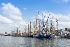 Sailingships in Rostock tijdens Hanse-Zeil 2014 Stock Foto's