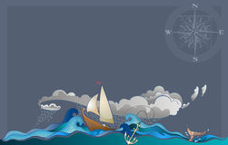 Sailling fartyg i en lös natur Arkivbild
