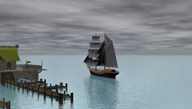Sailling ship early in morning 3d rendering. 3d rendering of an old ship early in morning leaving dock Stock Photos