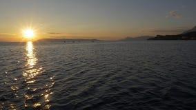 Sailling at sunseth stock video
