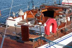 Sailling yacht. Fragment of an old wooden sailing yacht Stock Photography