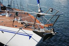 Sailling yacht. Fragment of an old wooden sailing yacht Royalty Free Stock Photography