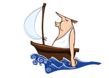 Sailor. A castaway blowing to sail for keeping it in movement Stock Image