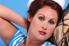 Sailor. Attractive woman in sailor outfit Royalty Free Stock Photos