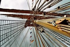 Sailor. This is the pole of a sailing ship in Europe Royalty Free Stock Photo