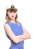 Sailor. In striped clother and sea hat. Isolated in white royalty free stock photos