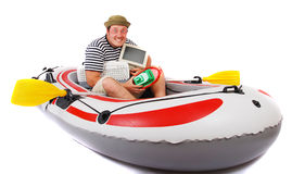 Sailor. In the rubber boat Royalty Free Stock Photos