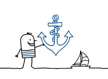 Sailor and anchor. Vector hand-drawn characters line Royalty Free Stock Photo