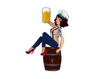 Sailor Babe. Hot women with the beer Stock Images