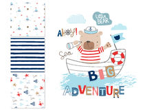 Sailor bear and 3 seamless patterns Royalty Free Stock Photography