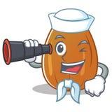 Sailor with binocular almond nut character cartoon Royalty Free Stock Image
