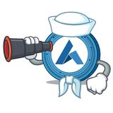 Sailor with binocular Ardor coin mascot cartoon. Vector illustration Royalty Free Stock Photos