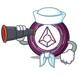 Sailor with binocular Augur coin mascot cartoon. Vector illustration Royalty Free Stock Images