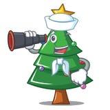 Sailor with binocular Christmas tree character cartoon. Vector illustration Stock Photography