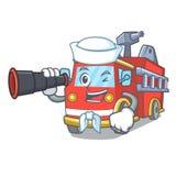 Sailor with binocular fire truck mascot cartoon. Vector illustration Stock Photos