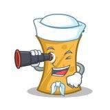 Sailor with binocular kebab wrap character cartoon. Vector art royalty free illustration