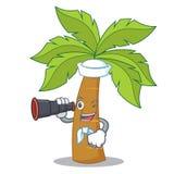 Sailor with binocular palm tree character cartoon Royalty Free Stock Photography
