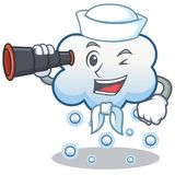 Sailor with binocular snow cloud character cartoon Stock Photos
