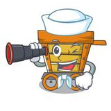 Sailor with binocular wooden trolley mascot cartoon. Vector illustration stock illustration