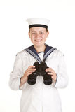 Sailor with binoculars isolated on white Stock Photos
