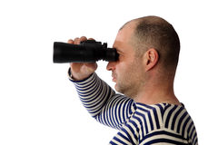 Sailor with binoculars on the white background Royalty Free Stock Photos