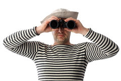 Sailor with binoculars on the white background Stock Image