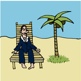 Sailor in blue vest and relaxing in a deckchair on the beach under a palm comic  illustration Stock Photography