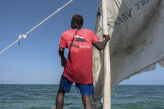 Sailor on the boat in Zanzibar stock photo