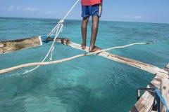 Sailor on the boat in Zanzibar Royalty Free Stock Photos