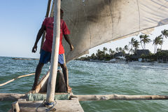 Sailor on the boat in Zanzibar stock photography