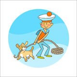 Sailor boy and puppy pulls a rope Royalty Free Stock Photo