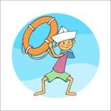 Sailor boy throwing rescue circle Stock Photo