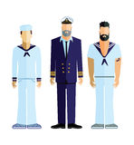 Sailor captain and crew. Sailboat captain and sailing crew figures isolated on a white background Stock Photo