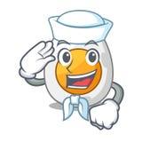 Sailor cartoon boiled egg sliced for breakfast. Vector illustration stock illustration