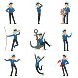 Sailor character doing his job set. Seaman in different situations cartoon vector Illustrations Royalty Free Stock Image