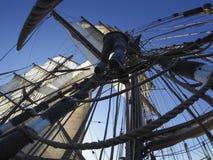 Sailor climbing rigging of traditional tallship or sailboat Royalty Free Stock Photography