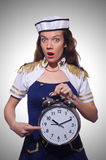Sailor with clock  Royalty Free Stock Photos