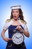 Sailor with clock  Royalty Free Stock Images