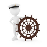 Sailor. 3d man sailor with steering wheel on white background Royalty Free Stock Images