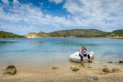 Sailor in dinghy Stock Image