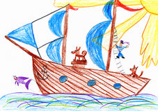 Sailor and a dog traveling on a sailboat - child drawing picture on paper Royalty Free Stock Image