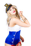 Sailor fashion model wearing expensive jewelry Royalty Free Stock Image