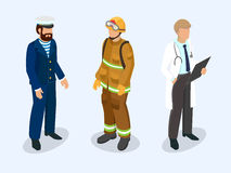Sailor, firefighter and doctor as professional people. Isometric 3d vector illustration Stock Photos
