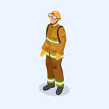 Sailor, firefighter and doctor as professional people. Isometric 3d vector illustration Stock Photo