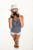 Sailor girl with binocular Royalty Free Stock Photos