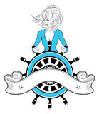 Sailor girl emblem Royalty Free Stock Images