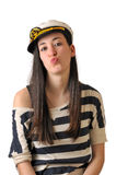 Sailor girl kissing Royalty Free Stock Photo