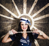 Sailor girl portrait. Vintage design background Royalty Free Stock Photos